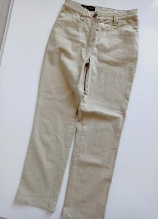 Бежевые джинсы брюки прямые с высокой посадкой1 фото