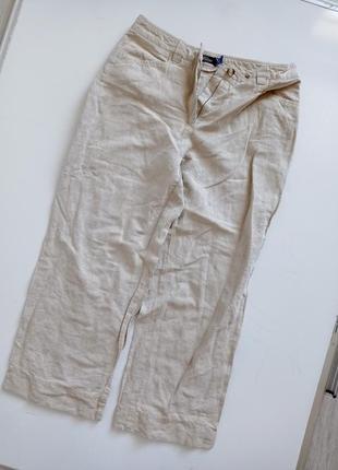 Льняные брюки капри с высокой посадкой