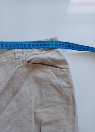 Льняные брюки капри с высокой посадкой5 фото