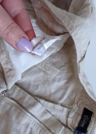 Льняные брюки капри с высокой посадкой3 фото