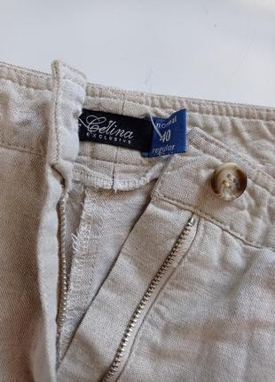 Льняные брюки капри с высокой посадкой2 фото
