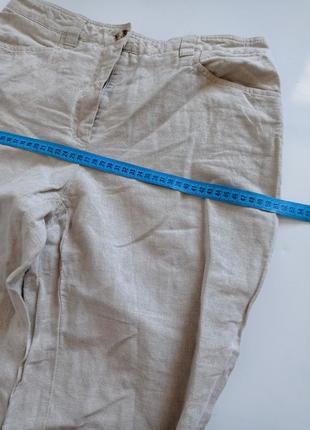 Льняные брюки капри с высокой посадкой6 фото