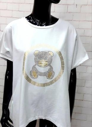 Крутая ,натуральная футболка,туника,хлопок , польша, р. 50-60
