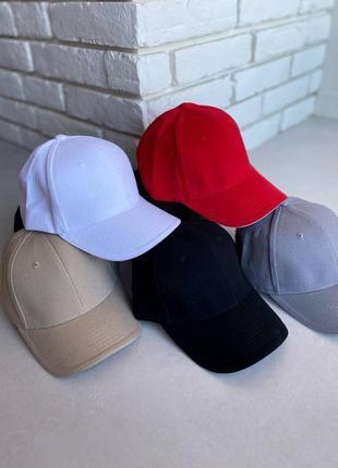 Бейсболка кепка женская красная чёрная белая серая коттон синяя