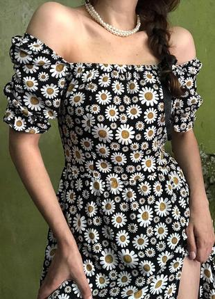 Платье ромашки  тренд сарафан винтажный стиль разрез распорка цветочный принт