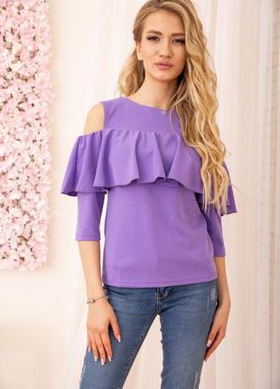Блузка с открытыми плечами и воланом цвет фиолетовый