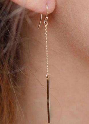 Серьги сережки минимализм золотистые новые