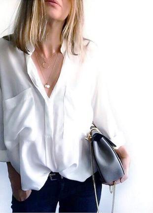 Стильная рубашка блуза over size с нашивными карманами s m