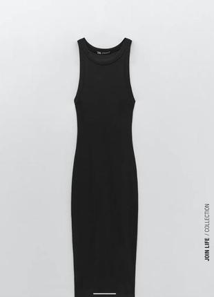 Чёрное платье миди zara в наличии размер s