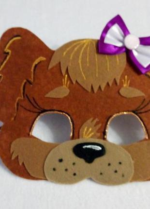 Маска из фетра собачка с фиолетовым бантиком