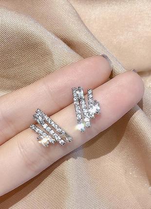 Серьги минимализм со стразами гвоздик серебро 925 / большая распродажа!