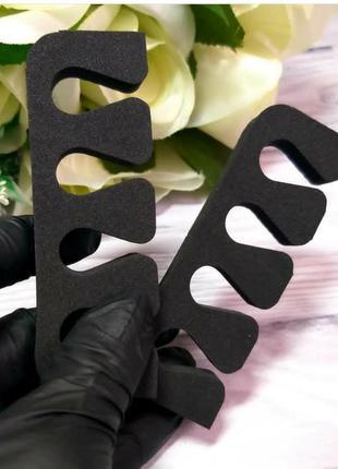 Разделители для пальцев чёрные, распорки (растопырки) для педикюра