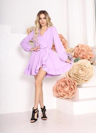 Женское короткое платье с длинным рукавом однотонное лиловое