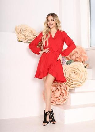 Женское короткое платье летнее однотонное красное с длинным рукавом