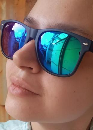 Стильные синие зеркальные очки вайфареры унисекс