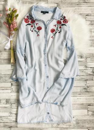 Платье-рубашка с вышивкой