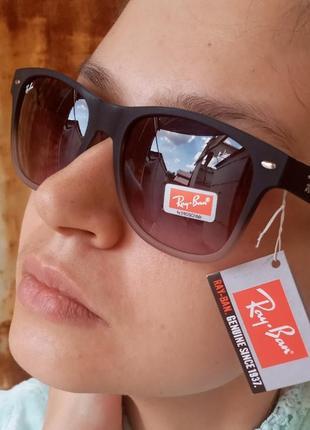 Стильные очки вайфареры в прорезиненой оправе унисекс