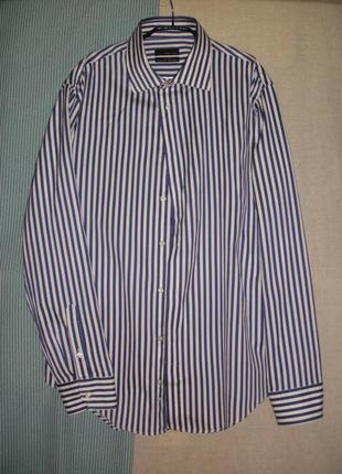Классная мужская рубашка сорочка zara в полоску