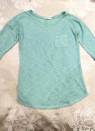 Тонкая кофта, реглан, футболка с длинным рукавом мятная, бирюзовая