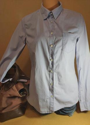 Женская рубашка h&m. элегантная офисная рубашка стретч. голубая приталенная рубашка