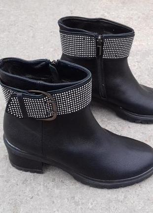 Кожаные зимние ботинки натуральная кожа 37р 24 см нові зимові шкіряні чоботи