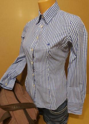 Женская рубашка united colors of benetton. хлопковая рубашка синяя клетка. рубашка в клетку