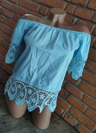 Блуза футболка хлопок гипюр