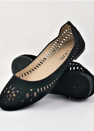 Женские летние балетки черные мокасины туфли (размеры: 36,37,38,39,40,41) - 00-1