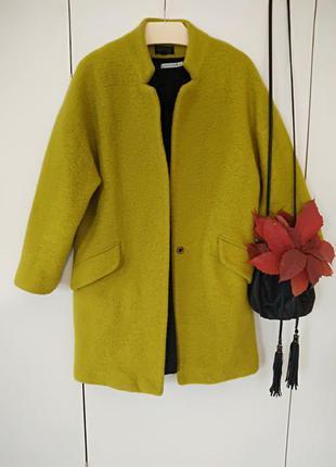 Шерстяное пальто оверсайз фисташкового цвета top shop 38