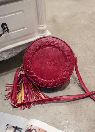 Новая крсная марсала круглая красивая сумочка сумка через плечо