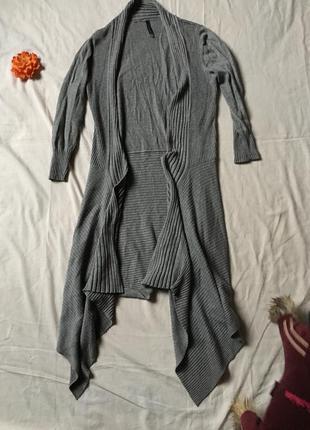 Кардиган свитер с хвостиками модный серый от bershka