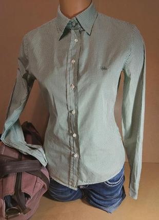 Женская рубашка united colors of benetton. хлопковая рубашка зеленая клетка. рубашка в клетку