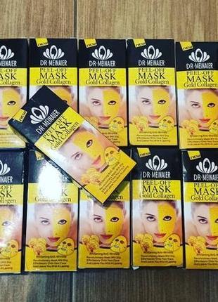 Золотая антивозрастная коллагеновая маска пленка для лица
