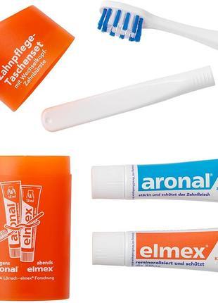 Дорожній набір aronal und elmex(дорожня зубна щітка та зубна паста 2 x 12 ml)