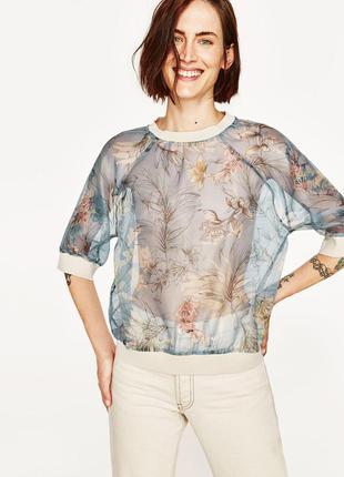 Красивая,нежная,прозрачная блузка,кофточка,свитшот с органзы,цветочный принт. zara