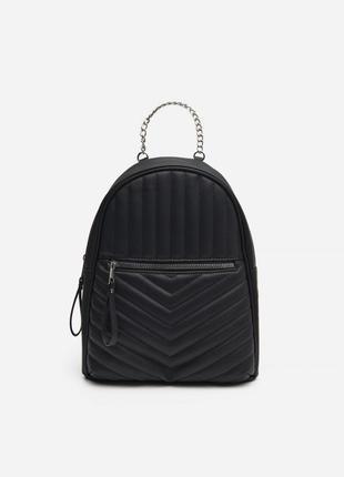 Классный черный рюкзак house эко кожаный ранец