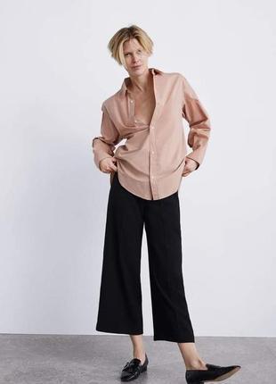 Широкие брюки с защипами zara woman3 фото