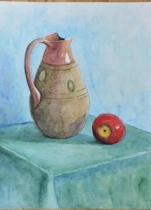"""""""натюрморт с яблоком"""". этюд. картина акварелью. декоративная живопись"""