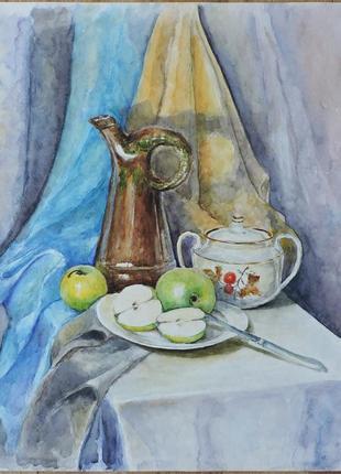 """""""натюрморт с зелеными яблоками """". живопись. картина акварелью"""