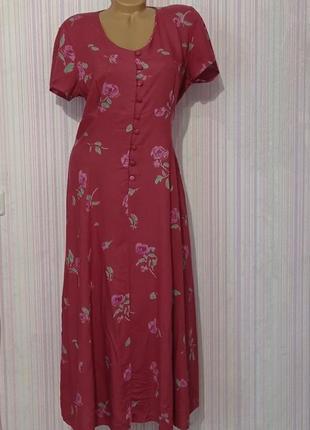 Очень красивое длинное летнее платье из вискозы, цветочный принт