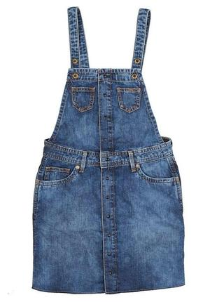 Детский джинсовый комбинезон с юбкой