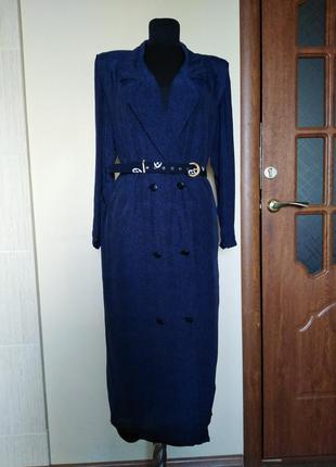 Двубортное платье халат прямого кроя, винтаж, last scene