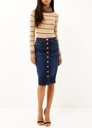 Новая высокая джинсовая юбка миди карандаш на пуговицах river island