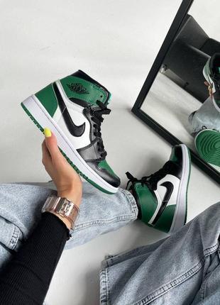 """❤ женские зеленые кожаные кроссовки nike air jordan retro 1 high """"pine green""""  ❤"""