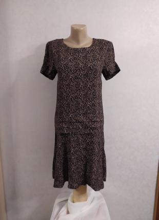 Комфортное вискозное платье с заниженной талией, р.s