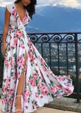 Невероятно красивое длинное платье,сарафан, люкс качество стамбул, размер с.