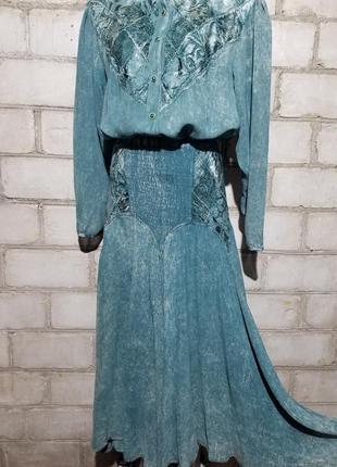 Шикарный винтажный костюм варенка блузон юбка ретро бохо винтаж