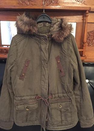 Теплейшая куртка-парка на искусственном меху, цвета хаки