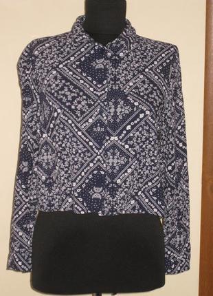 Свободная укороченная рубашка h&m, вискоза