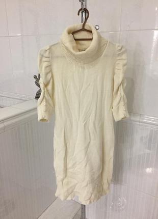 Туника вязаная свитер кофта гольф рубчик белая лонгслив с горлом